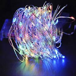 Светодиодная гирлянда нить на 100 Led Капли росы 10 м на батарейках мультицвет.