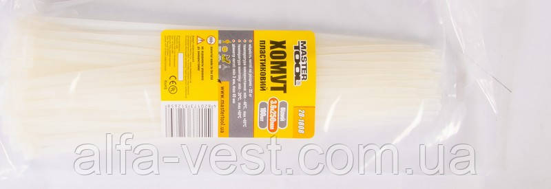 Хомут пластиковый 3,6*250 мм белый, 100 шт MASTERTOOL 20-1808