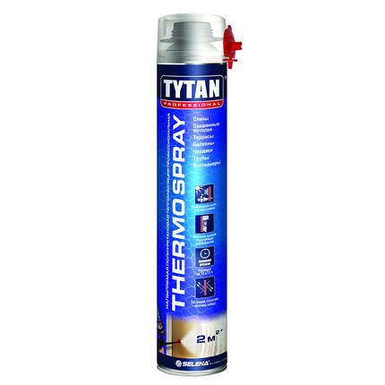 Пена Утеплитель в Балоне, Tytan Thermospray 870 мл напыляемый утеплитель, фото 2