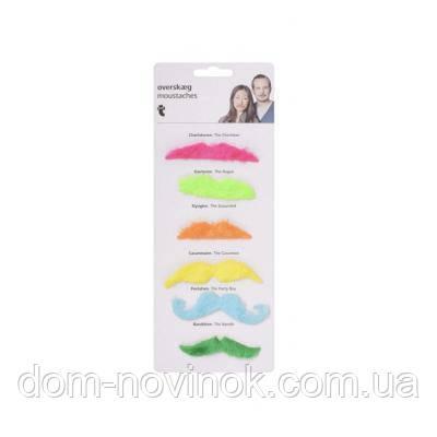 Усы накладные набор (уп.6шт.) цветные