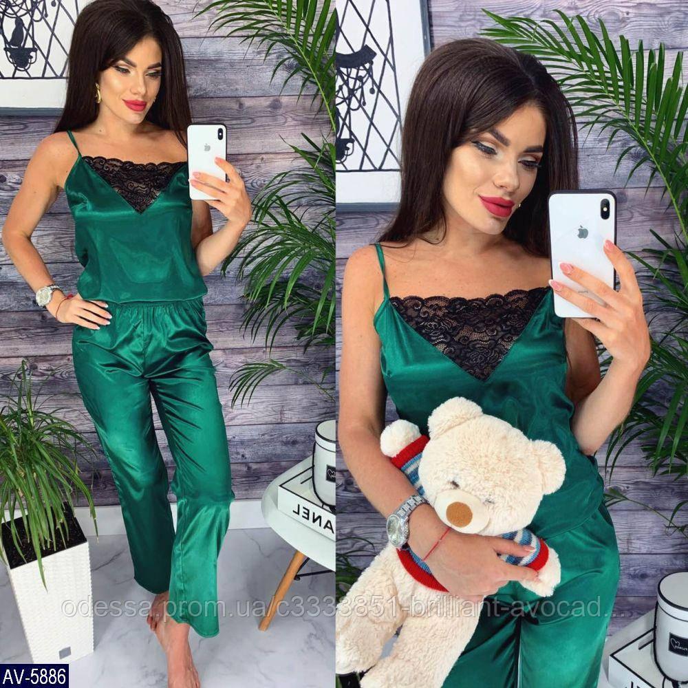 Женская красивая атласная кружевная пижама (майка и штаны)