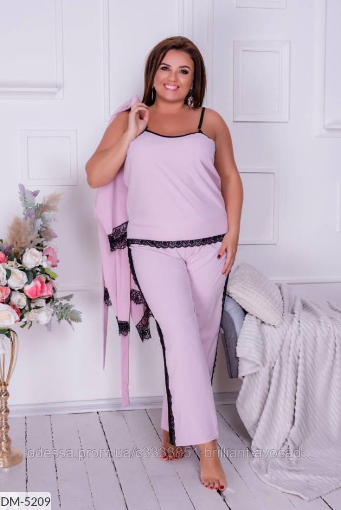 Женская красивая пижама тройка (майка, штаны, халат) большой размер 50 52 54 56 58 60 62 64