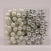 Кульки скляні 2 див. срібні (12 пучків-144 кульки) 44299