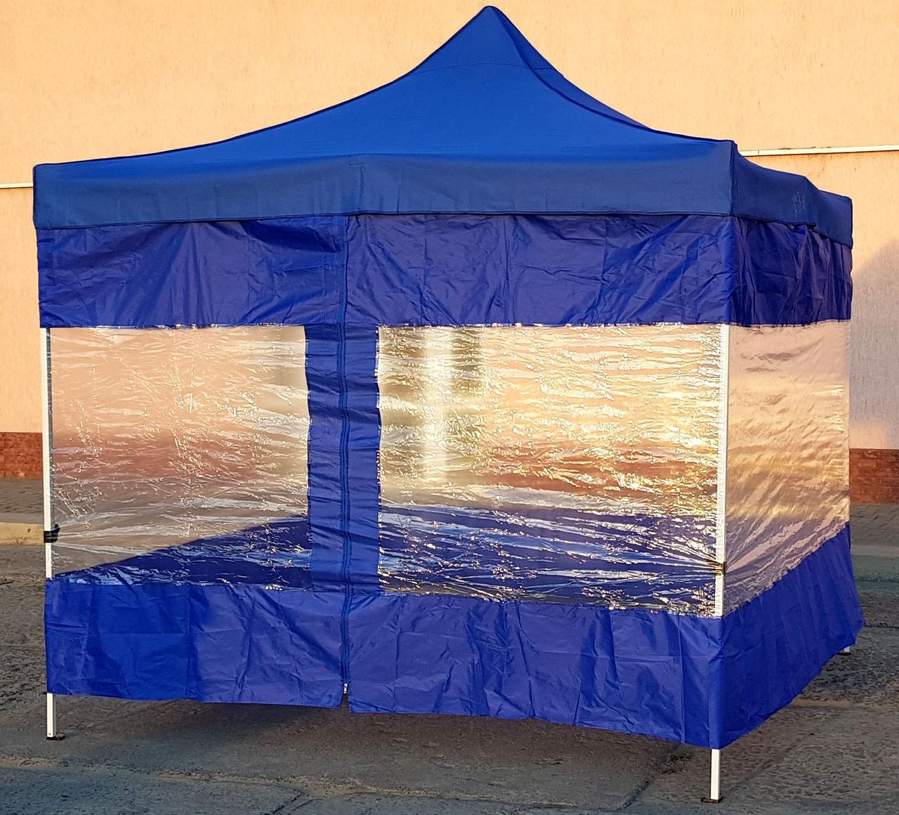 Боковая штора для шатра с прозрачным ПВХ и молнией L-12м.