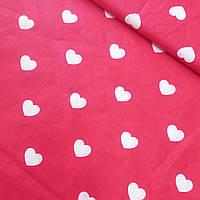Польская бязь с крупными белыми сердечками на красном, ш. 160 см, фото 1