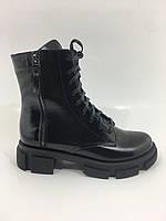Высокие женские кожаные зимние ботинки молния шнурок, фото 1