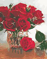"Картина по номерам ""Алые цветы"" 40*50см"