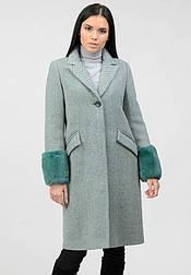 Зимовий твідове пальто у ялинку з манжетами кролика Raslov 958