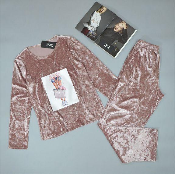 Теплая пижама женская штаны и кофта из велюра.