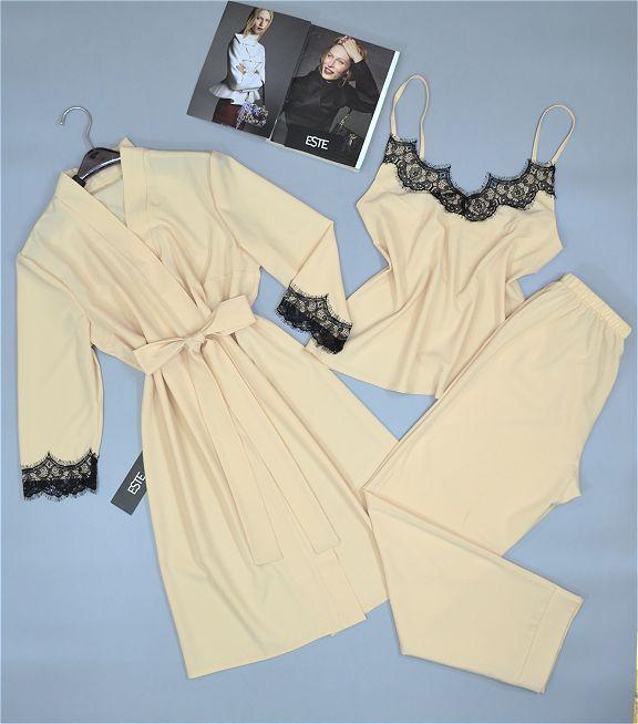 Комплект халат и пижама ( майка+штаны). Домашняя одежда женская.
