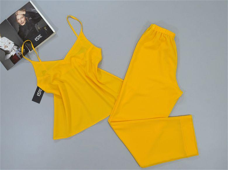 Желтая пижама женская майка+штаны. Ткань креп-шифон.