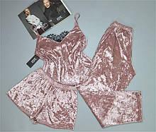 Женская велюровая пижама тройка майка+штаны+шорты. Размеры 42-44, 46-48.