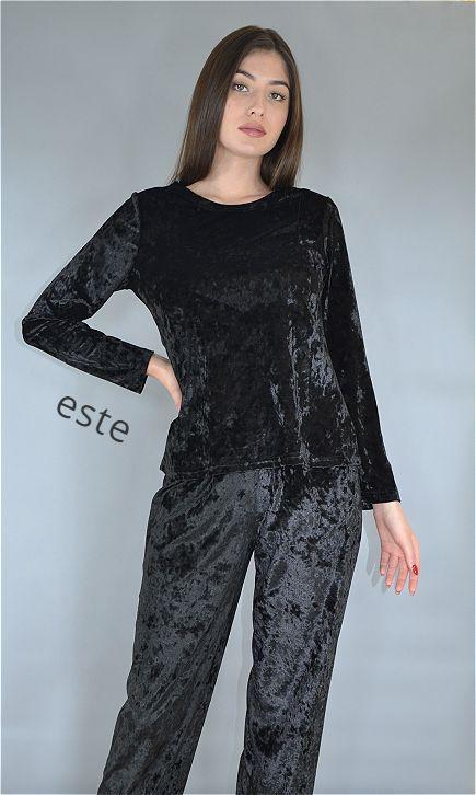 Пижама женская велюровая Este теплая кофта и штаны черная.