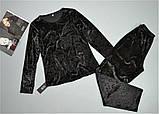Пижама женская велюровая Este теплая кофта и штаны черная., фото 2