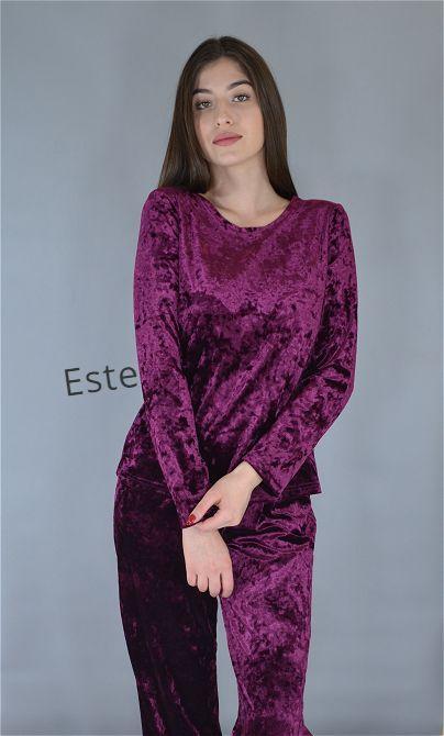 Пижама женская велюровая теплая кофта и штаны вишня.