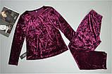 Пижама женская велюровая теплая кофта и штаны вишня., фото 2