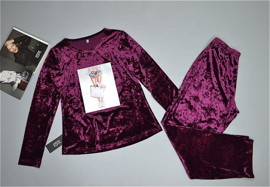 Теплая пижама женская штаны и кофта с аппликацией.