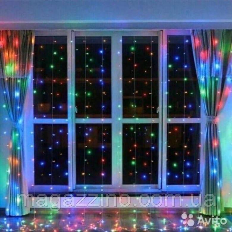Гирлянда Штора светодиодная, 500 LED, Мультицветная, прозрачный провод, 3х2м.