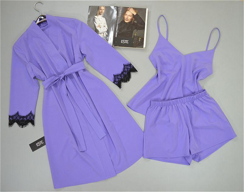 Халат майка шорты женский комплект домашней одежды.