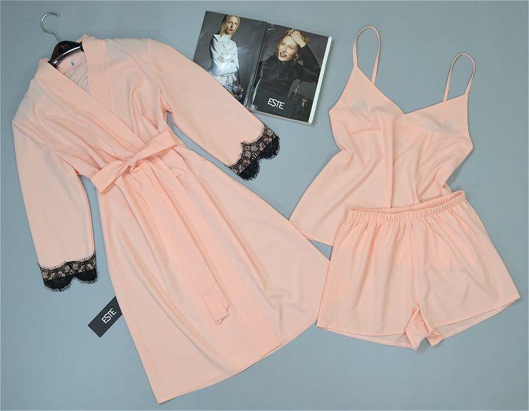 Женский комплект домашней одежды халат и пижама ( майка шорты).