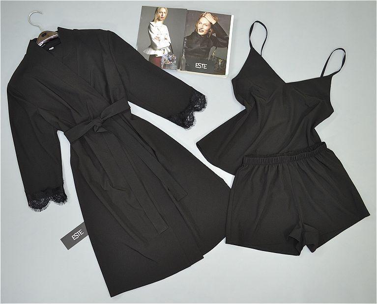 Черный халат и пижама ( майка шорты).Комплект.