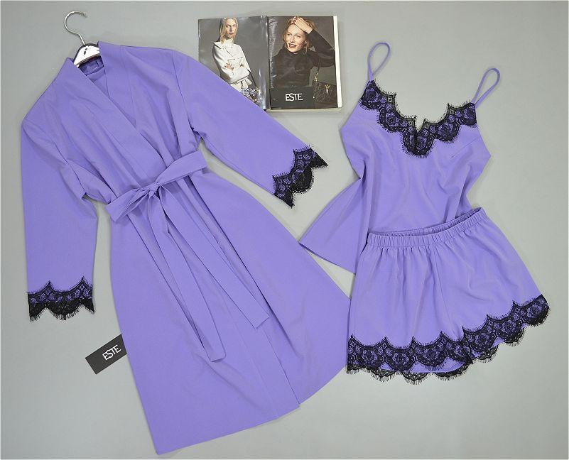 Комплект тройка с кружевом для сна и дома. Халат и пижама ( майка+шорты) лавандовый.