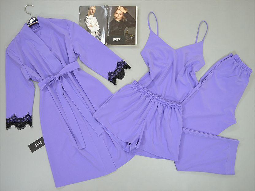 Комплект халат и пижама тройка ( майка штаны шорты) сиреневый.