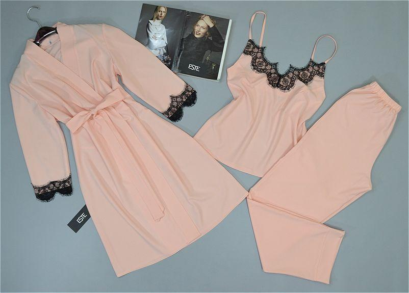 Комплект с кружевом халат и пижама ( майка+штаны) персиковый.