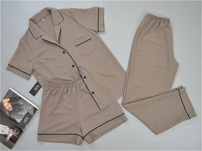 Пижама женская тройка, рубашка штаны шорты, оливковая.