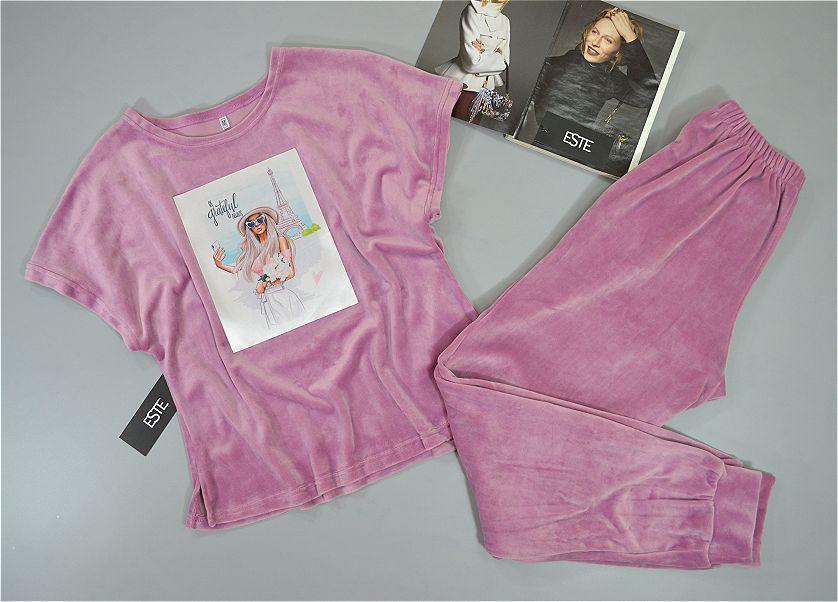 Пижама женская футболка и штаны микро-велюр розовая.