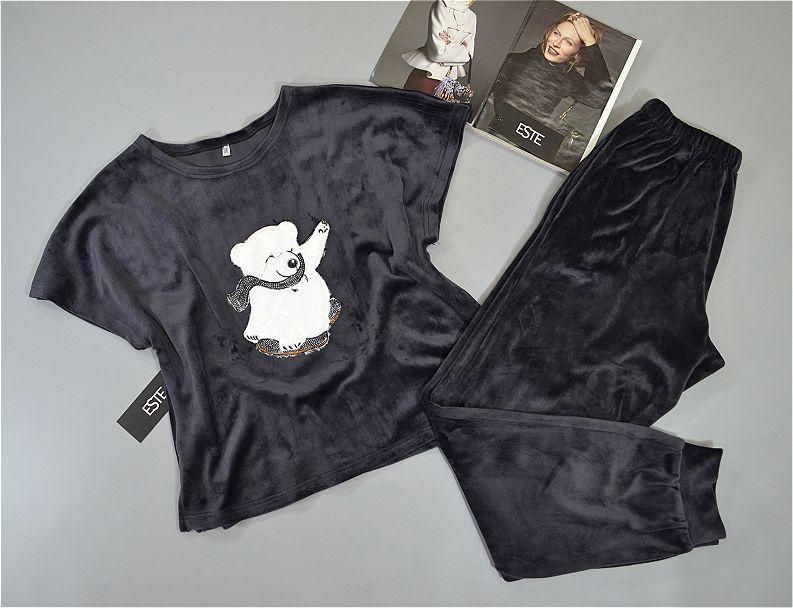 Пижама женская теплая штаны и футболка турецкий велюр.