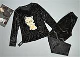 Черная велюровая пижама кофта лонгслив и штаны., фото 2