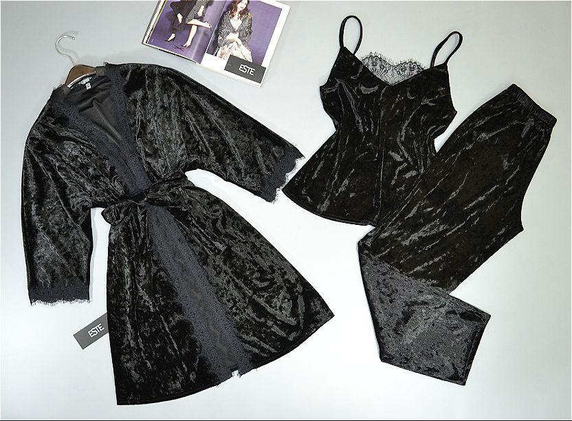 Велюровый комплект домашней одежды. Халат и пижама( майка штаны).