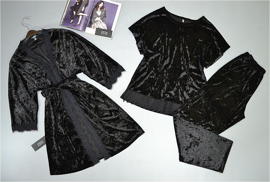 Велюровый Халат и пижама( футболка штаны). Теплая домашняя одежда комплект.