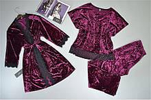 Теплая домашняя одежда. Велюровый комплект Халат и пижама( футболка штаны).