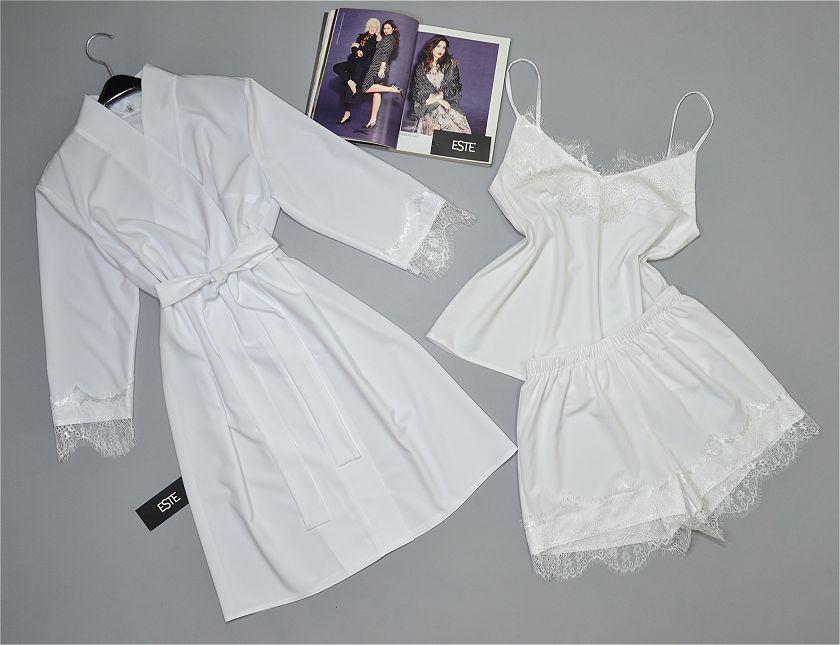 Белый комплект на утро невесты Este халат майка шорты с кружевом.