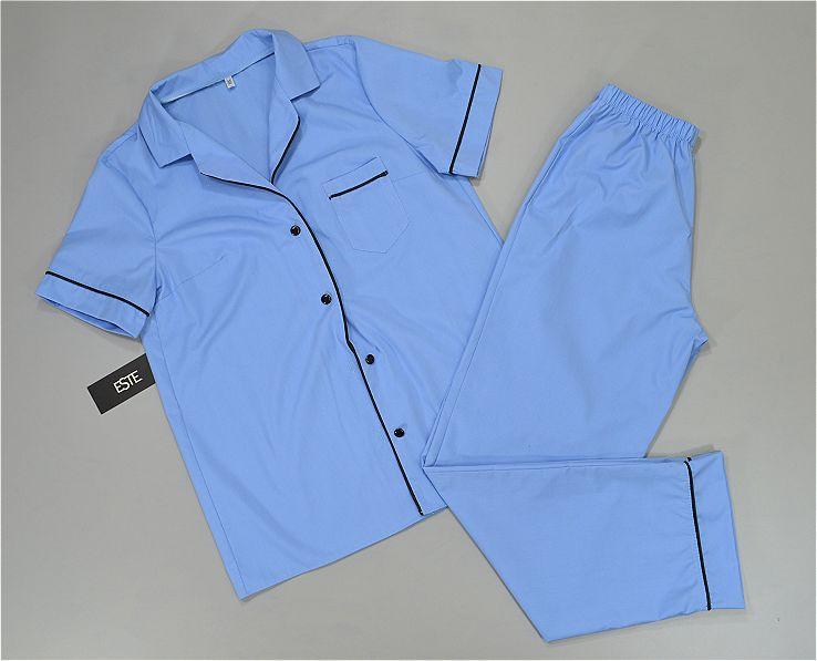 Пижама женская рубашка и штаны хлопковая голубая.