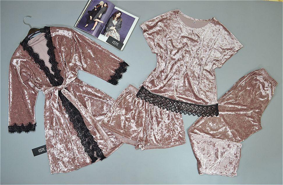 Халат и пижама тройка ( футболка+штаны+шорты). Велюровый комплект четверка.