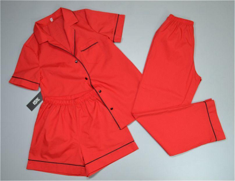 Красная хлопковая пижама тройка рубашка штаны и шорты.