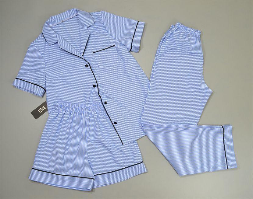 Пижама в полоску рубашка штаны и шорты. Домашняя одежда.