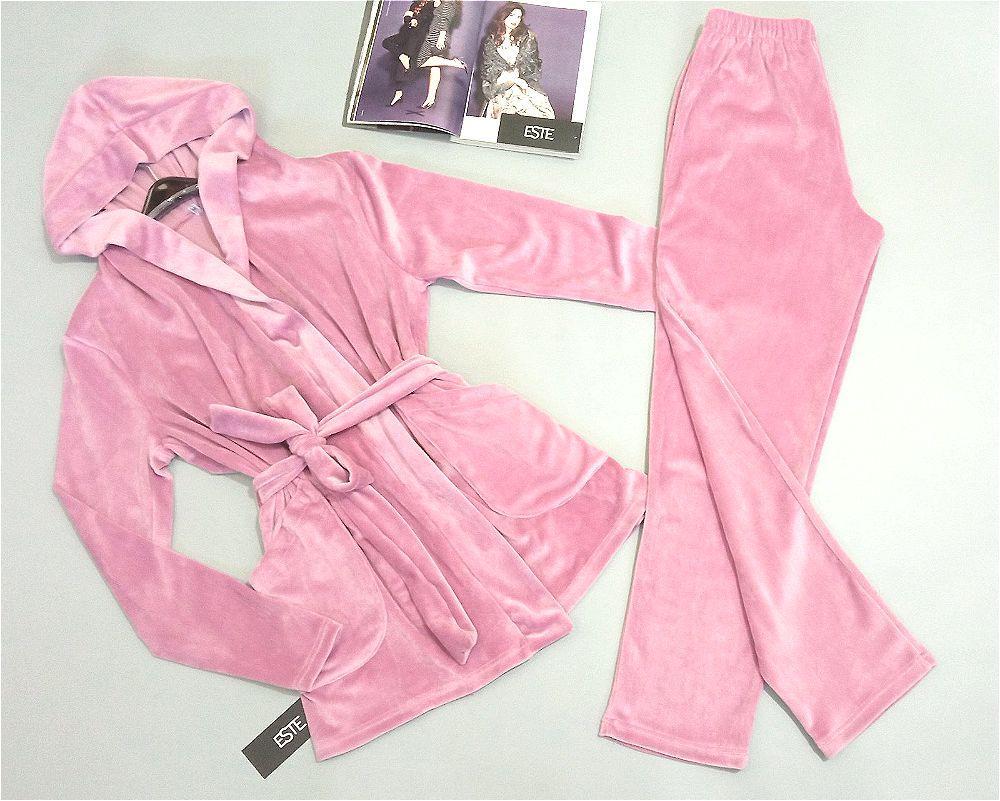 Теплая пижама женская мини халат с капюшоном и карманами+штаны  Este 407 розовый.