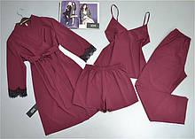 Комплект халат и пижама тройка ( майка штаны шорты) бордовый.
