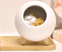 Детский ночник Котик в домике, светильник с регулировкой яркости, белый