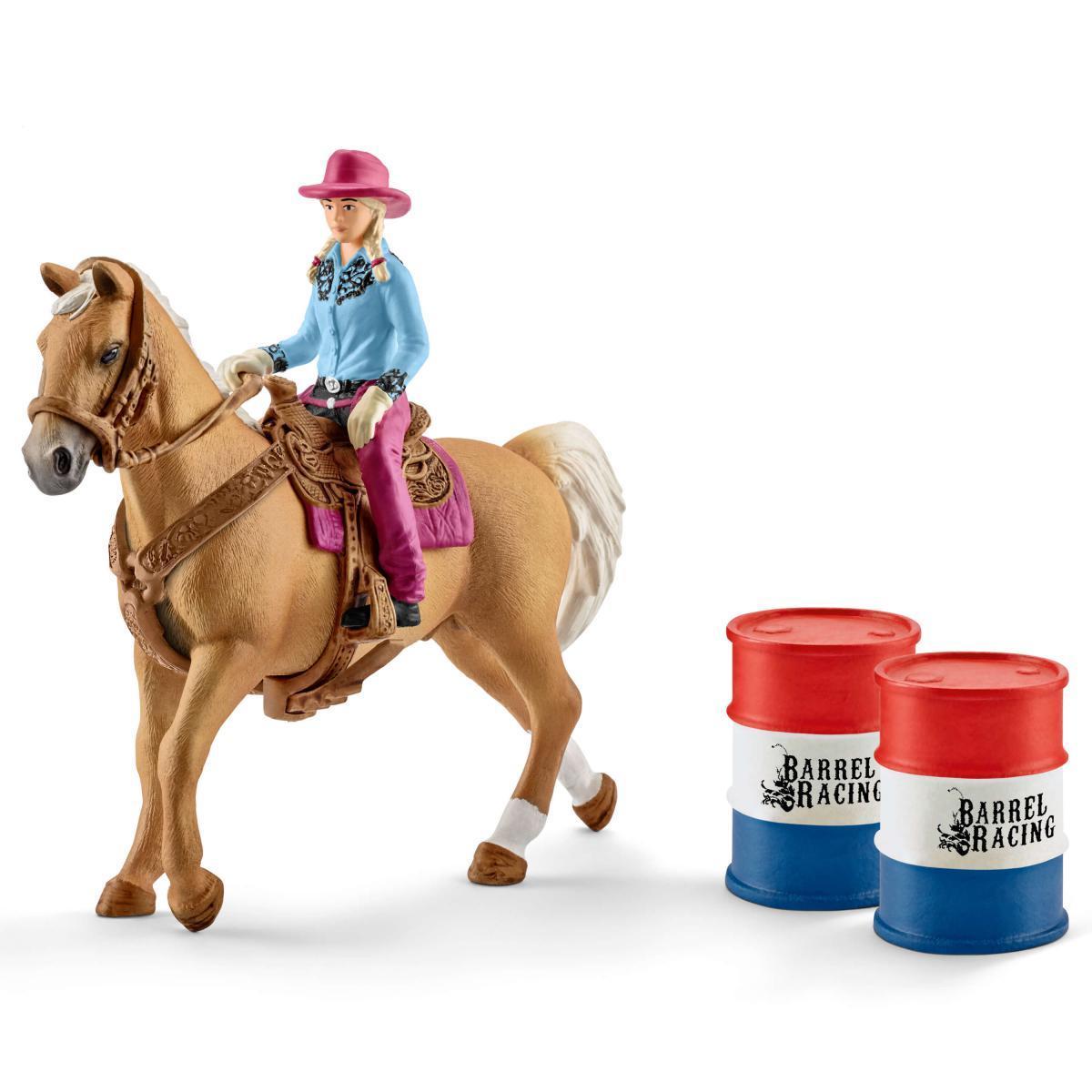 Schleich 41417 Дівчина-ковбой на скачках навколо бочок (Німеччина) Наездница на скачках вокруг бочек