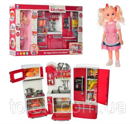 Ігрова кухня для ляльок 28х37х8 см, холодильник, мийка, плита, продукти, лялька, звук, світло 66082
