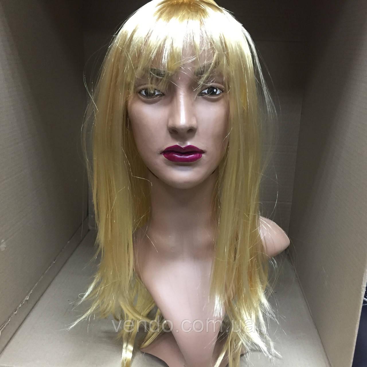 Парик длинный прямой блонд с челкой 56 см