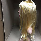 Парик длинный прямой блонд с челкой 56 см, фото 2