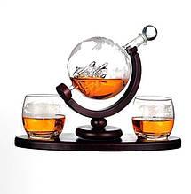 "Набор для виски ""Вокруг мира"" (Штоф 850 мл. + 2 стакана)"