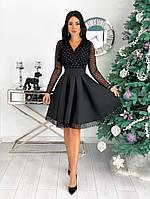 Женское нарядное платье со вставками из сетки, фото 1