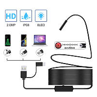 USB эндоскоп для смартфона и ноутбука KERUI A99, матрица 2 Мп HD960P d 8мм, подсветка 8 LED, кабель 1/2/5/10м